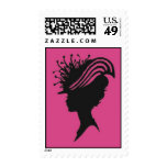 Victorian Lady With Hat Silhouette Stamp