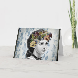 Victorian Lady Woman Pansies on Tapestry Card