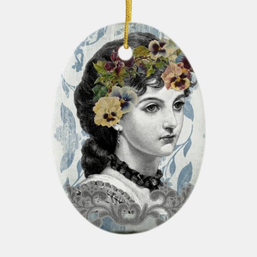 Victorian Lady Woman Pansies on Tapestry Ceramic Ornament