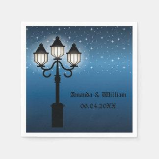 Victorian Lamp Post At Night With Stars Wedding Napkin