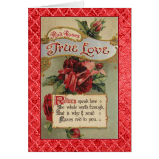 Victorian Language of Flowers Red Roses True Love Card