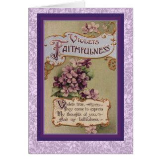 Victorian Language of Flowers Violets Faithfulness Card