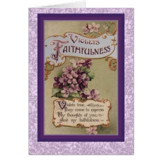 Victorian Language of Flowers Violets Faithfulness Card