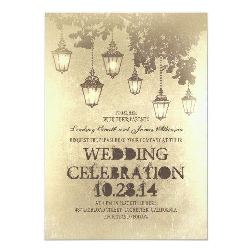 Victorian Lanterns wedding invitations