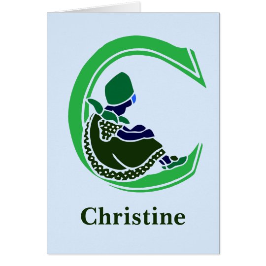 Victorian letter C with a cute little girl green Card