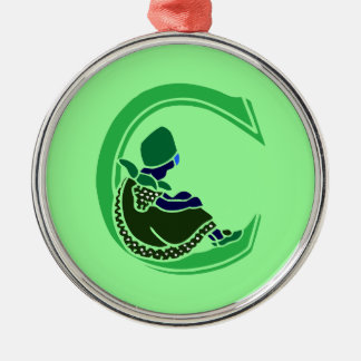 Victorian letter C with a cute little girl green Metal Ornament