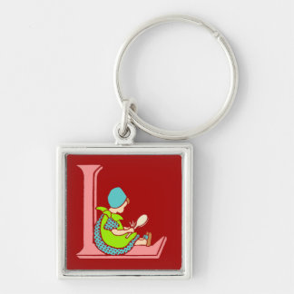 Victorian letter L with a cute little girl Keychain