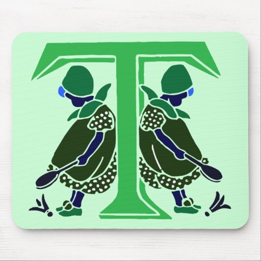 Victorian letter T with 2 cute little girls dark Mouse Pad