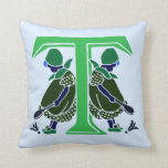 Victorian letter T with 2 cute little girls green Throw Pillow