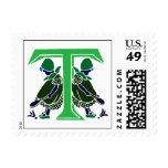 Victorian letter T with 2 cute little girls Postage Stamps