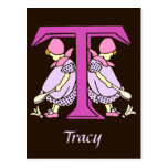 Victorian letter T with 2 cute little girls Post Cards