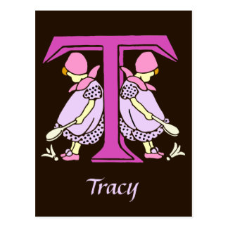 Victorian letter T with 2 cute little girls Postcard