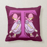 Victorian letter T with 2 cute little girls purple Throw Pillow