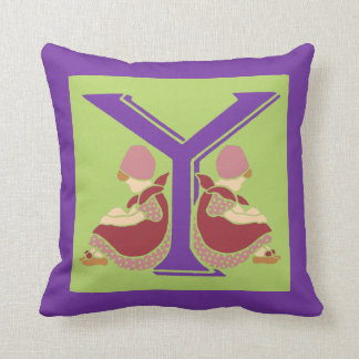 Victorian letter Y with 2 cute little girls Throw Pillow