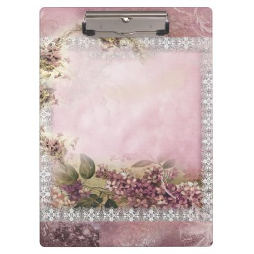 Beach Themed Victorian Lilacs w White Lace Frame lavender pink Clipboard