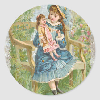 Victorian Little Girl Blue Dress Holding Doll Classic Round Sticker