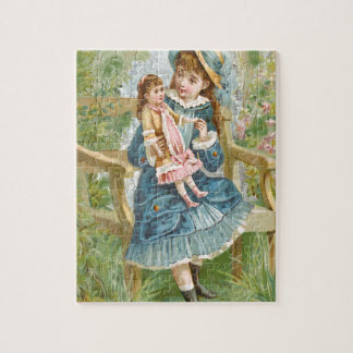 Victorian Little Girl Blue Dress Holding Doll Jigsaw Puzzle