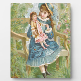 Victorian Little Girl Blue Dress Holding Doll Plaque