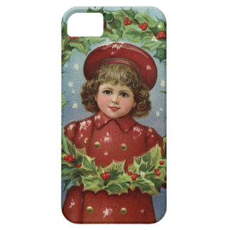 Victorian Little Girl with Christmas Wreath iPhone SE/5/5s Case