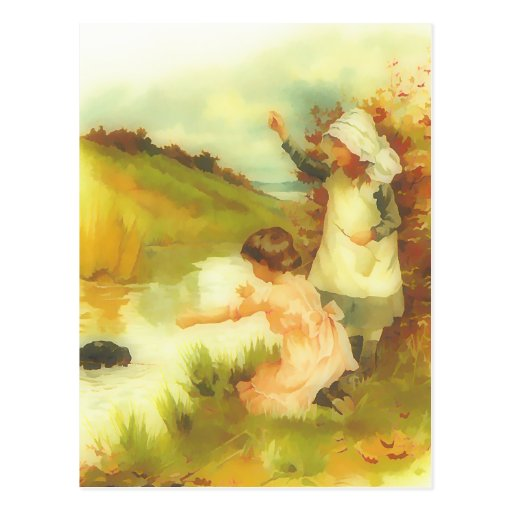 Victorian little girls playing by a stream post cards