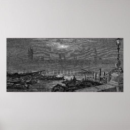 Victorian Londres - casas del parlamento por noche Posters