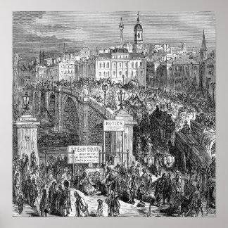 Victorian Londres - puente 1872 de Londres Impresiones
