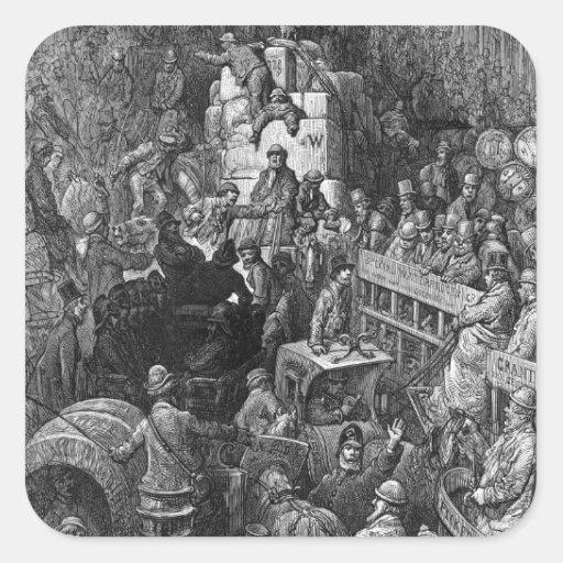 Victorian Londres - una ciudad Throughfare Pegatina Cuadrada