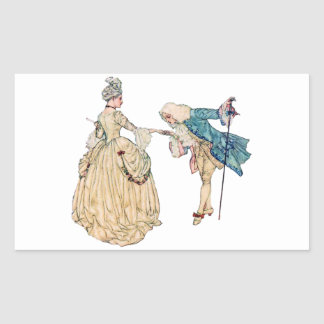 Victorian Lord And Lady Illustration Rectangular Sticker