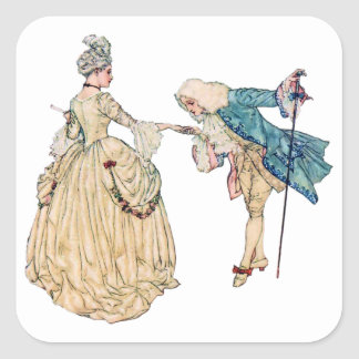Victorian Lord And Lady Illustration Square Sticker