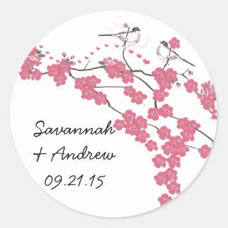 Victorian Love Bird Cherry Blossom Wedding Sticker