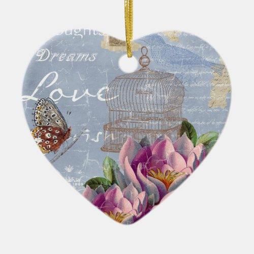 Victorian Love Thoughts Dreams Butterfly Bird Cage Ceramic Ornament