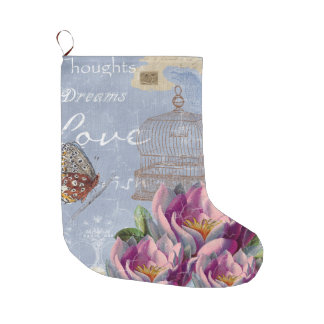 Victorian Love Thoughts Dreams Butterfly Bird Cage Large Christmas Stocking
