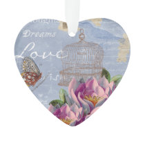 Victorian Love Thoughts Dreams Butterfly Bird Cage Ornament