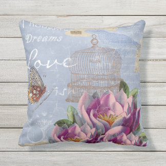 Victorian Love Thoughts Dreams Butterfly Bird Cage Outdoor Pillow