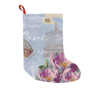 Victorian Love Thoughts Dreams Butterfly Bird Cage Small Christmas Stocking