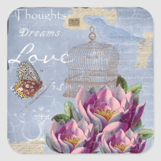 Victorian Love Thoughts Dreams Butterfly Bird Cage Square Sticker