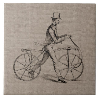 Victorian Man on Bicycle Vintage Steampunk Drawing Tile