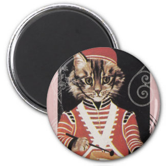 Victorian Marching Cat Drummer Boy Drum 2 Inch Round Magnet