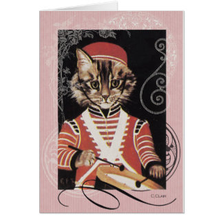 Victorian Marching Cat Drummer Boy Drum Card