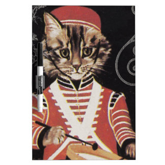 Victorian Marching Cat Drummer Boy Drum Dry-Erase Board