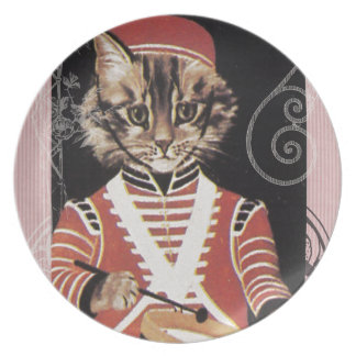 Victorian Marching Cat Drummer Boy Drum Melamine Plate