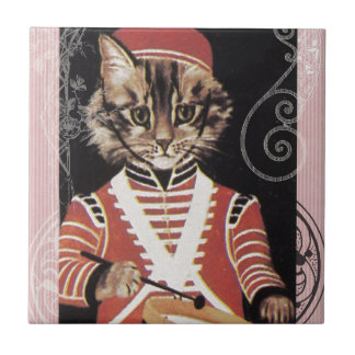 Victorian Marching Cat Drummer Boy Drum Tile