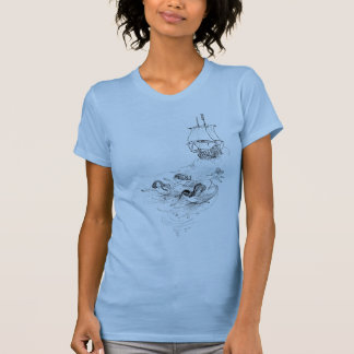 Victorian Mermaid and Ship Illustration T-Shirt