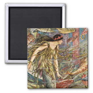 Victorian Mermaid Art by H J Ford 2 Inch Square Magnet