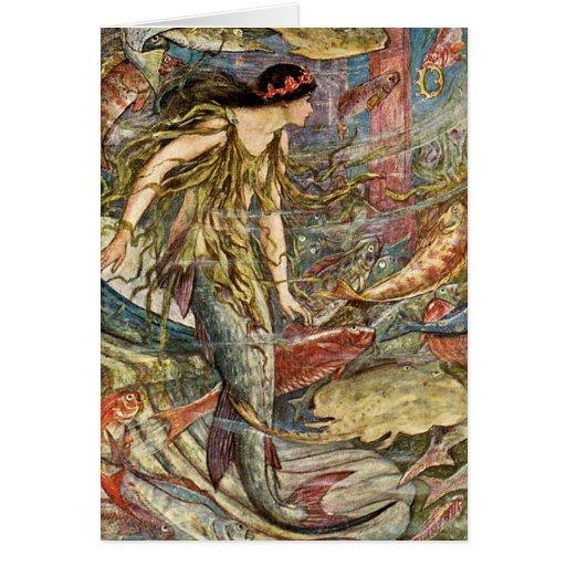 Victorian Mermaid Art by H J Ford Card