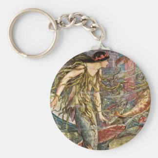 Victorian Mermaid Art by H J Ford Keychain