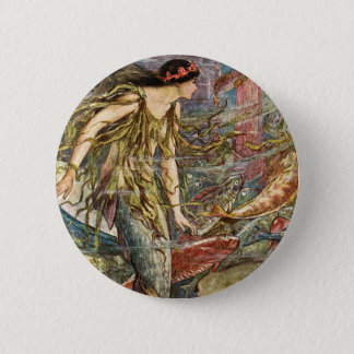 Victorian Mermaid Art by H J Ford Pinback Button