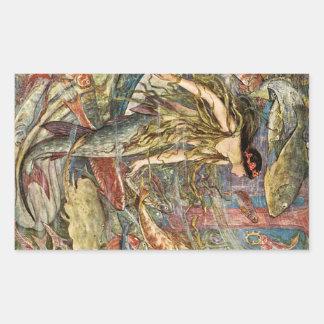 Victorian Mermaid Art by H J Ford Rectangular Sticker
