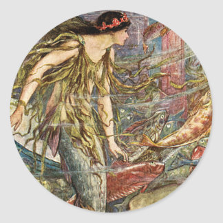 Victorian Mermaid Art by H J Ford Round Stickers