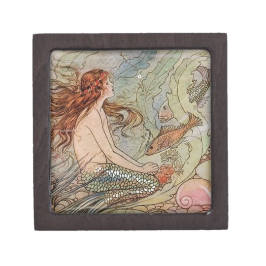 Victorian Mermaid Illustration Jewelry Gift Box